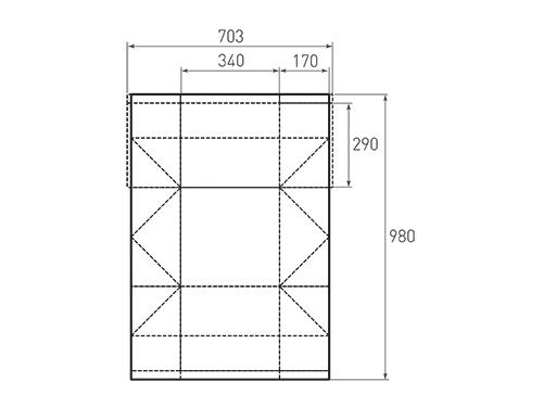Штамп для вырубки горизонтального бумажного пакета g 340-290-340 (1 шт. на штампе). Привью 500x375 пикселов.