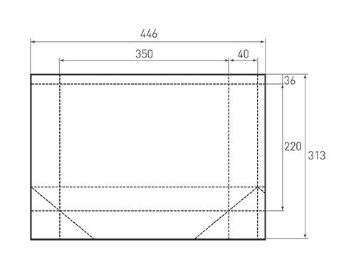 Штамп для вырубки горизонтального бумажного пакета g 350-220-80 (1 шт. на штампе). Привью 500x375 пикселов.