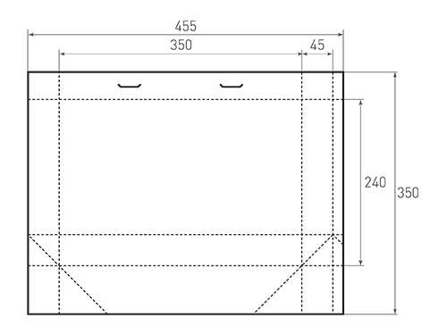 Штамп для вырубки горизонтального бумажного пакета g 350-240-90 (1 шт. на штампе). Привью 500x375 пикселов.