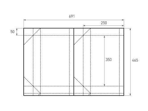 Штамп для вырубки горизонтального бумажного пакета g 350-250-100 (1 шт. на штампе). Привью 500x375 пикселов.