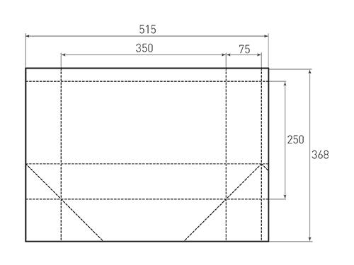 Штамп для вырубки горизонтального бумажного пакета g 350-250-150 (1 шт. на штампе). Привью 500x375 пикселов.