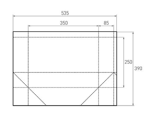 Штамп для вырубки горизонтального бумажного пакета g 350-250-170 (1 шт. на штампе). Привью 500x375 пикселов.