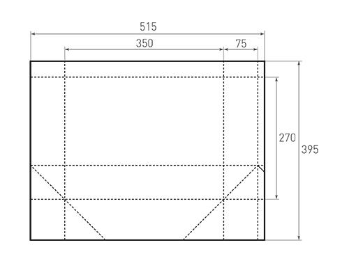 Штамп для вырубки горизонтального бумажного пакета g 350-270-150 (1 шт. на штампе). Привью 500x375 пикселов.