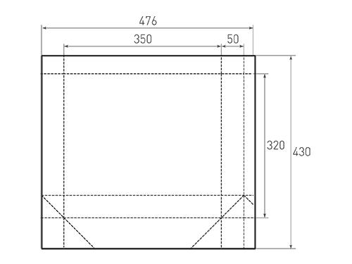 Штамп для вырубки горизонтального бумажного пакета g 350-320-100 (1 шт. на штампе). Привью 500x375 пикселов.