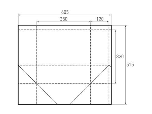 Штамп для вырубки горизонтального бумажного пакета g 350-320-240 (1 шт. на штампе). Привью 500x375 пикселов.