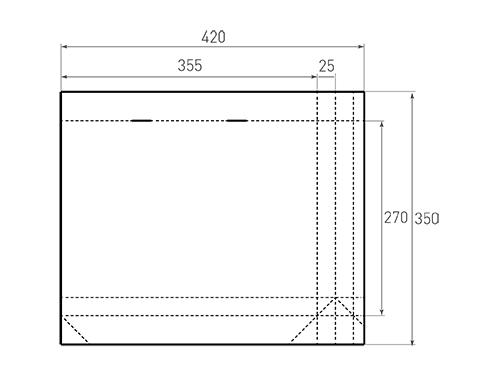 Штамп для вырубки горизонтального бумажного пакета g 355-270-50 (1 шт. на штампе). Привью 500x375 пикселов.