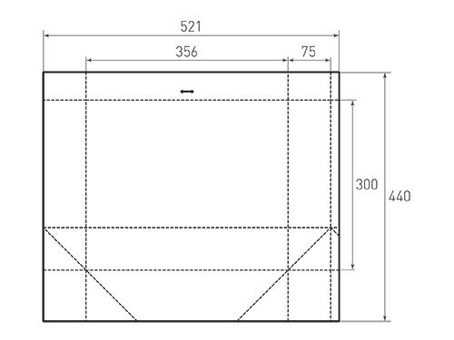 Штамп для вырубки горизонтального бумажного пакета g 356-300-150 (1 шт. на штампе). Привью 500x375 пикселов.