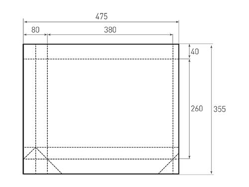 Штамп для вырубки горизонтального бумажного пакета g 380-260-80 (1 шт. на штампе). Привью 500x375 пикселов.