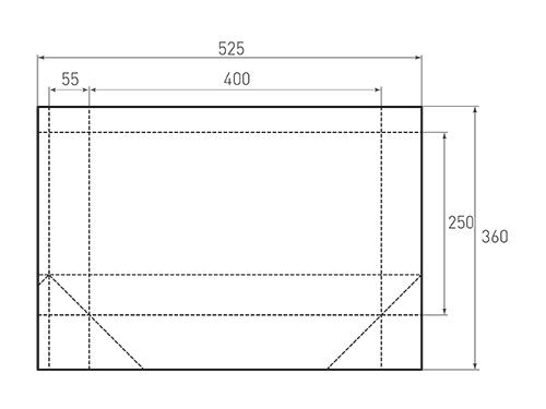 Штамп для вырубки горизонтального бумажного пакета g 400-250-110 (1 шт. на штампе). Привью 500x375 пикселов.