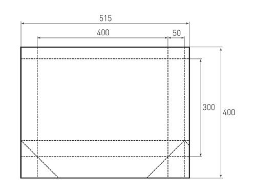 Штамп для вырубки горизонтального бумажного пакета g 400-300-100 (1 шт. на штампе). Привью 500x375 пикселов.