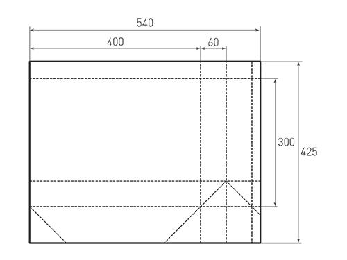 Штамп для вырубки горизонтального бумажного пакета g 400-300-120 (1 шт. на штампе). Привью 500x375 пикселов.