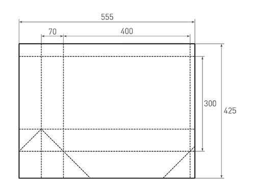 Штамп для вырубки горизонтального бумажного пакета g 400-300-140 (1 шт. на штампе). Привью 500x375 пикселов.