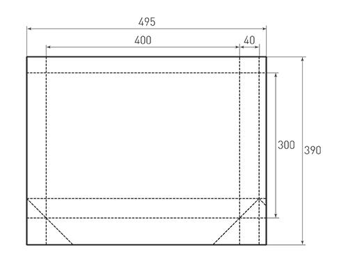 Штамп для вырубки горизонтального бумажного пакета g 400-300-80 (1 шт. на штампе). Привью 500x375 пикселов.