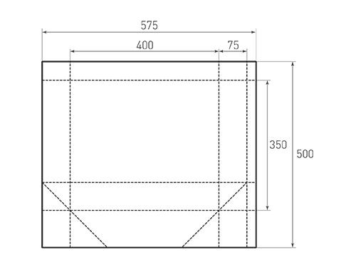 Штамп для вырубки горизонтального бумажного пакета g 400-350-150 (1 шт. на штампе). Привью 500x375 пикселов.