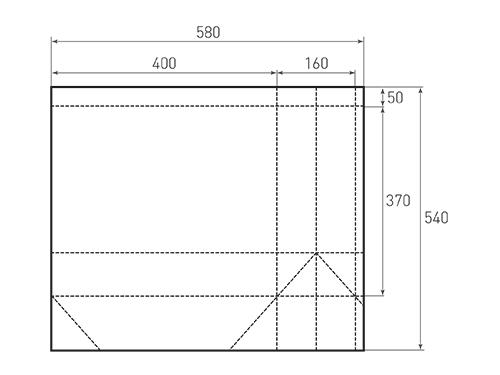 Штамп для вырубки горизонтального бумажного пакета g 400-370-160 (1 шт. на штампе). Привью 500x375 пикселов.