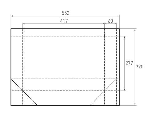 Штамп для вырубки горизонтального бумажного пакета g 417-277-120 (1 шт. на штампе). Привью 500x375 пикселов.