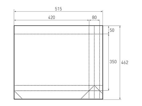 Штамп для вырубки горизонтального бумажного пакета g 420-350-80 (1 шт. на штампе). Привью 500x375 пикселов.