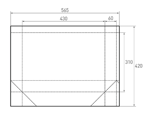 Штамп для вырубки горизонтального бумажного пакета g 430-310-120 (1 шт. на штампе). Привью 500x375 пикселов.