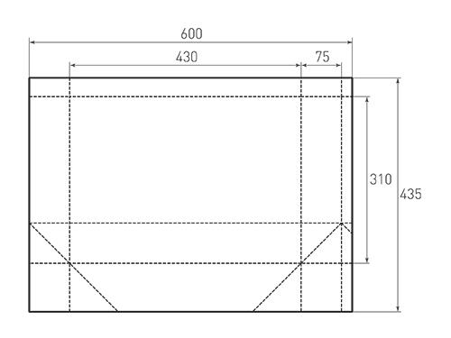 Штамп для вырубки горизонтального бумажного пакета g 430-310-150 (1 шт. на штампе). Привью 500x375 пикселов.