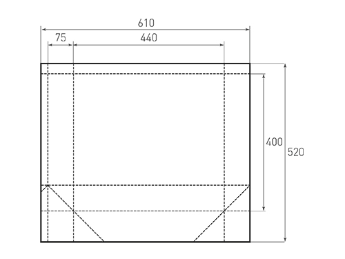 Штамп для вырубки горизонтального бумажного пакета g 440-400-150 (1 шт. на штампе). Привью 500x375 пикселов.