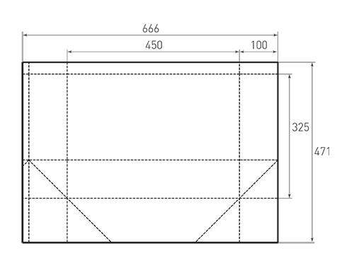 Штамп для вырубки горизонтального бумажного пакета g 450-325-200 (1 шт. на штампе). Привью 500x375 пикселов.