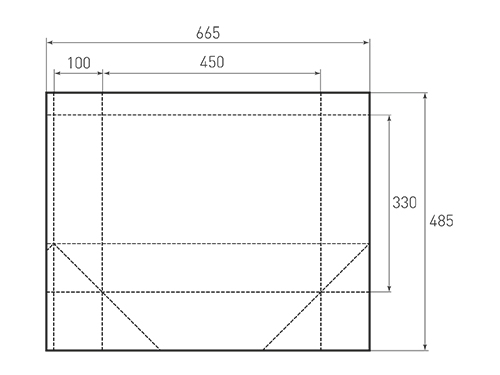 Штамп для вырубки горизонтального бумажного пакета g 450-330-200 (1 шт. на штампе). Привью 500x375 пикселов.