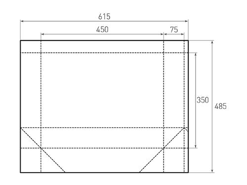 Штамп для вырубки горизонтального бумажного пакета g 450-350-150 (1 шт. на штампе). Привью 500x375 пикселов.
