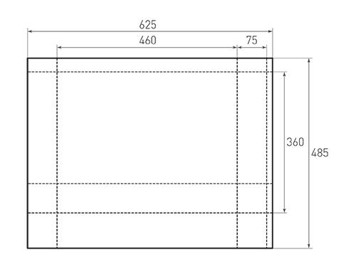 Штамп для вырубки горизонтального бумажного пакета g 460-360-150 (1 шт. на штампе). Привью 500x375 пикселов.
