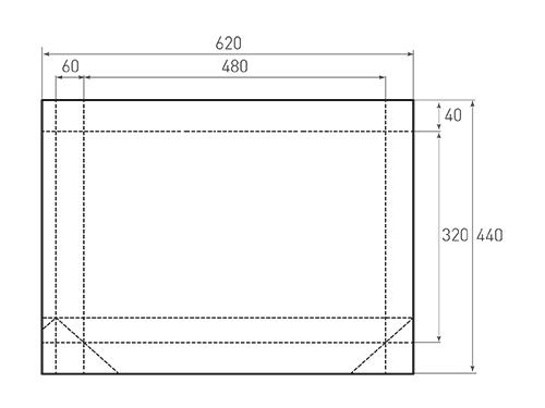 Штамп для вырубки горизонтального бумажного пакета g 480-320-120 (1 шт. на штампе). Привью 500x375 пикселов.