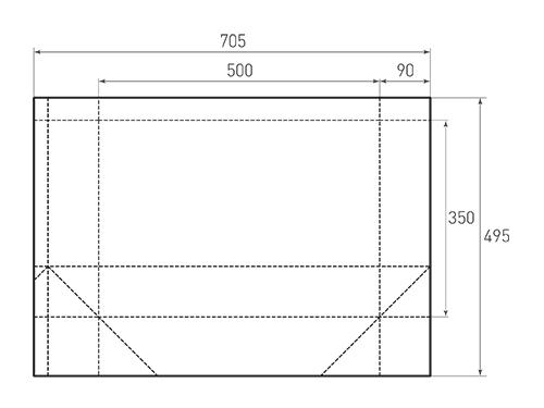 Штамп для вырубки горизонтального бумажного пакета g 500-350-180 (1 шт. на штампе). Привью 500x375 пикселов.
