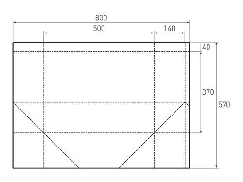 Штамп для вырубки горизонтального бумажного пакета g 500-370-280 (1 шт. на штампе). Привью 500x375 пикселов.