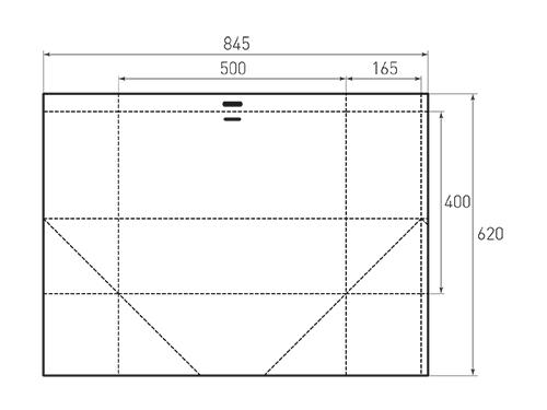 Штамп для вырубки горизонтального бумажного пакета g 500-400-330 (1 шт. на штампе). Привью 500x375 пикселов.
