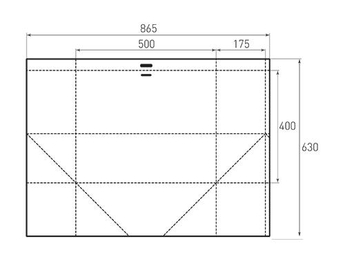Штамп для вырубки горизонтального бумажного пакета g 500-400-350 (1 шт. на штампе). Привью 500x375 пикселов.