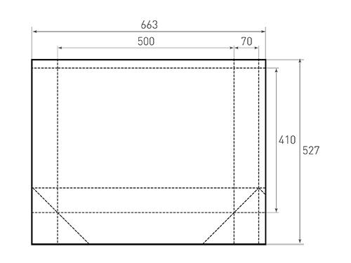 Штамп для вырубки горизонтального бумажного пакета g 500-410-140 (1 шт. на штампе). Привью 500x375 пикселов.