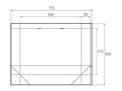 Штамп для вырубки горизонтального бумажного пакета g 540-410-160 (1 шт. на штампе). Привью 500x375 пикселов.