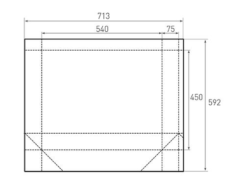 Штамп для вырубки горизонтального бумажного пакета g 540-450-150 (1 шт. на штампе). Привью 500x375 пикселов.