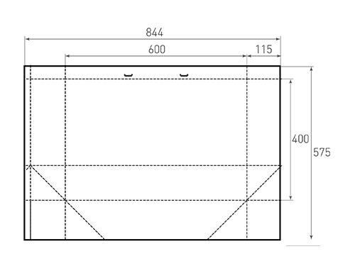 Штамп для вырубки горизонтального бумажного пакета g 600-400-230 (1 шт. на штампе). Привью 500x375 пикселов.