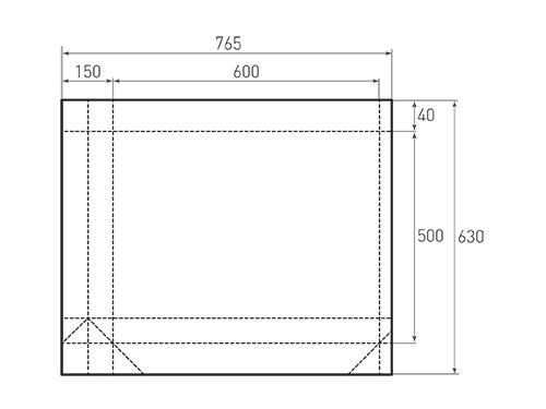 Штамп для вырубки горизонтального бумажного пакета g 600-500-150 (1 шт. на штампе). Привью 500x375 пикселов.