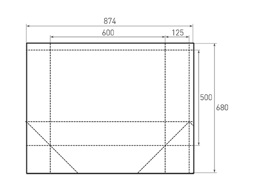 Штамп для вырубки горизонтального бумажного пакета g 600-500-250 (1 шт. на штампе). Привью 500x375 пикселов.
