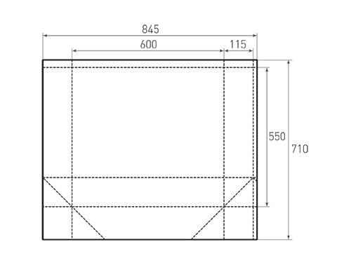 Штамп для вырубки горизонтального бумажного пакета g 600-550-230 (1 шт. на штампе). Привью 500x375 пикселов.