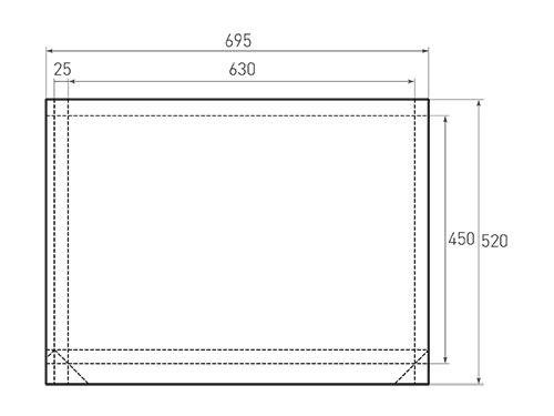 Штамп для вырубки горизонтального бумажного пакета g 630-450-50 (1 шт. на штампе). Привью 500x375 пикселов.