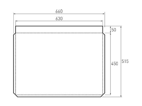 Штамп для вырубки горизонтального бумажного пакета g 630-450 (1 шт. на штампе). Привью 500x375 пикселов.