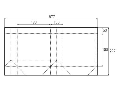Штамп для вырубки квадратного бумажного пакета k 180-180-100. Привью 500x375 пикселов.