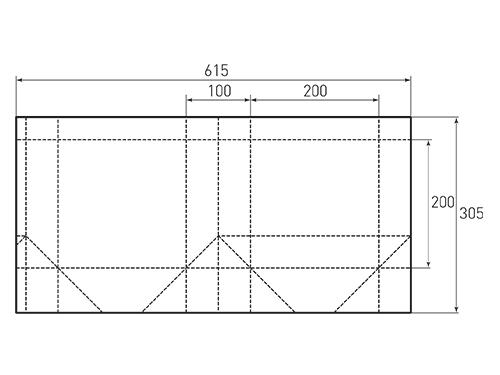 Штамп для вырубки квадратного бумажного пакета k 200-200-100. Привью 500x375 пикселов.
