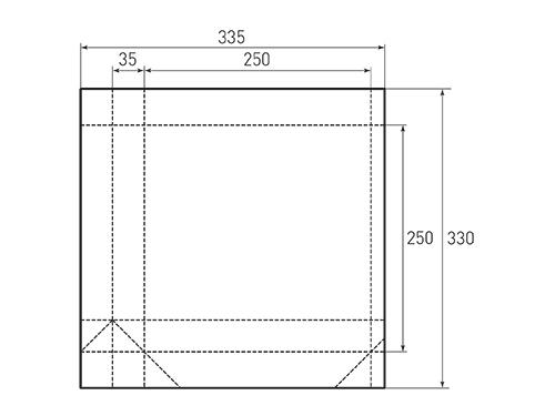 Штамп для вырубки квадратного бумажного пакета k 250-250-70. Привью 500x375 пикселов.