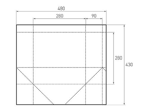 Штамп для вырубки квадратного бумажного пакета k 280-280-180. Привью 500x375 пикселов.