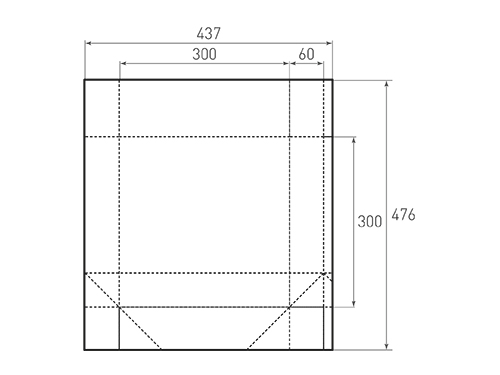 Штамп для вырубки квадратного бумажного пакета k 300-300-120. Привью 500x375 пикселов.