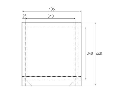 Штамп для вырубки квадратного бумажного пакета k 340-340-50. Привью 500x375 пикселов.