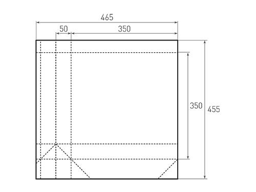 Штамп для вырубки квадратного бумажного пакета k 350-350-100. Привью 500x375 пикселов.