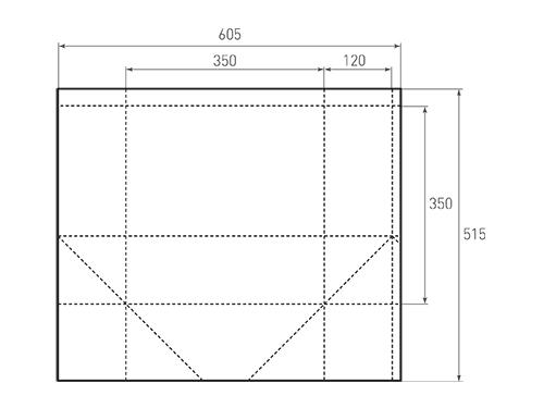 Штамп для вырубки квадратного бумажного пакета k 350-350-240. Привью 500x375 пикселов.